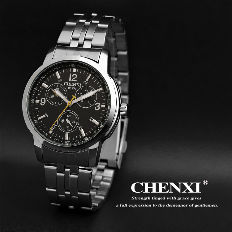 High Quality 3 Eyes Shockproof 30m Waterproof Full Stainless Steel Quartz Dress Wristwatches Wrist Watch for Men Women new arrival chenxi 3 eyes sport waterproof steel quartz wristwatches wrist watch for men male 036a silver
