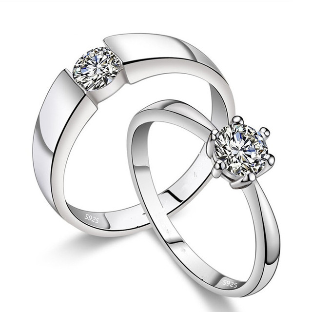 925 sterling silver cz crystal pair of wedding ring sets for men and women promise rings