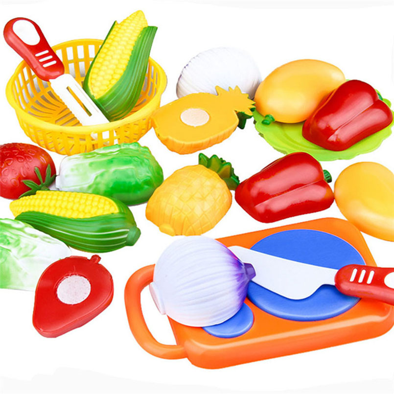 12pcs Plastic Kitchen Pretend Play Toys Cutting Fruit Vegetable Food Basket Children Role Play Educational Kitchen Toys For Kids 34pcs children s kitchen toys cutting fruit vegetable plastic drink food kit kat pretend play early education toy for kids