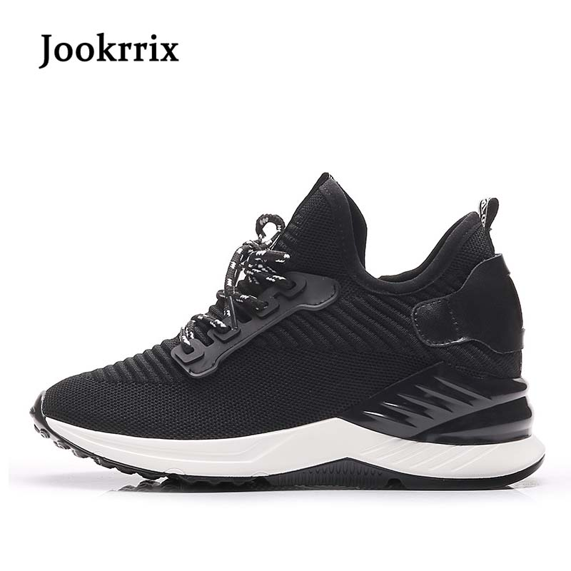 Jookrrix 2018 Spring Fashion Brand Lady Casual Vulcanized Shoes Women Shoe Mesh Black All Match Girl Sneaker Lace Up Breathable