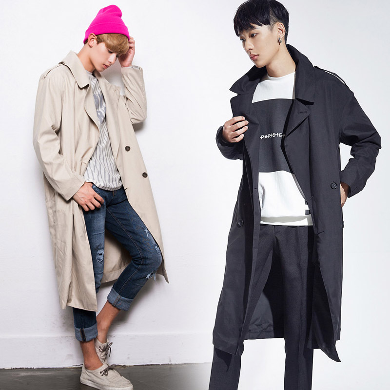 Oversize Trench Coat Men Autumn And Spring Fashion Large Neck Pull Style Ultra Long Mens