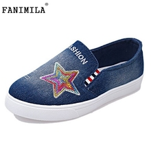Spring Autumn Woman Denim Casual Shoes Ladies Platform Shoes Women Lazy Shoes With Star Slip On Canvas Flats Size 36-40 Z00128
