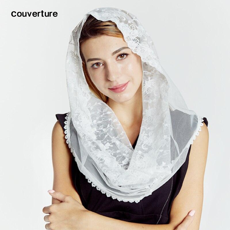 Couverture Casual Fashion Mantilla Floral Embroidery Scarf Women Wedding Bride Bridesmaid Shawls Head Cover Bufanda Mujer