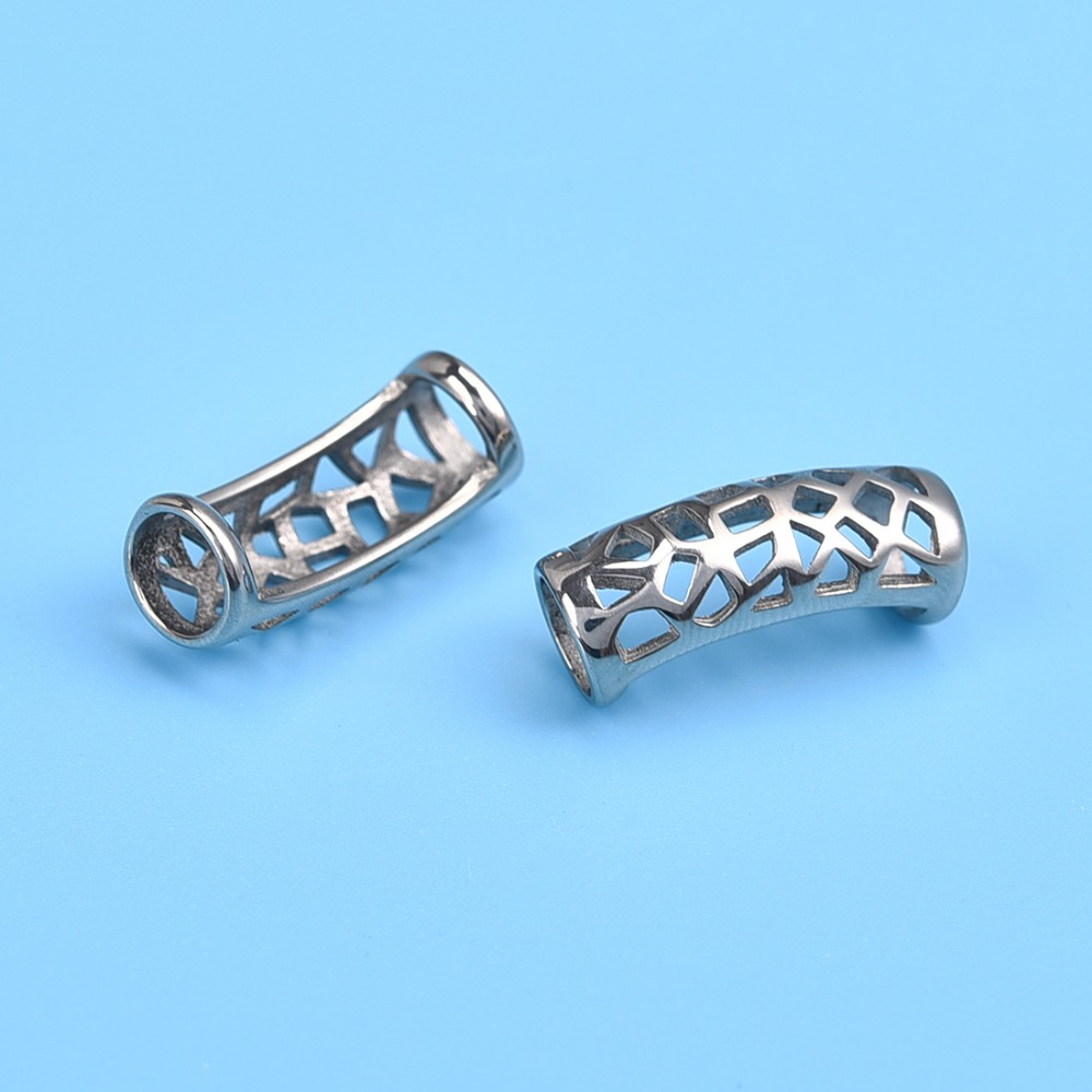 Stainless Steel Slider Tube Beads Hollow Hole 6&9mm (3)