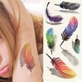 2PCS Inspire Colorful 3D On Body Art Chest Shoulder Finger Stickers Removal Fake Small Feathers Wings Glitter Temporary Tattoos