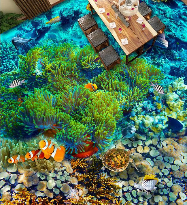 ФОТО Custom PVC wallpaper photo wallpaper Underwater world tropical fish 3 d floor tile floor wallpaper