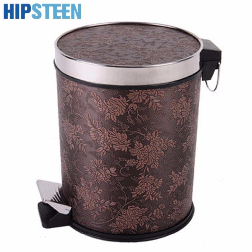 HIPSTEEN 10L Высокое качество Ретро корзины винограда узор Классический педаль отходов Бумага корзина дома и офиса для мусора