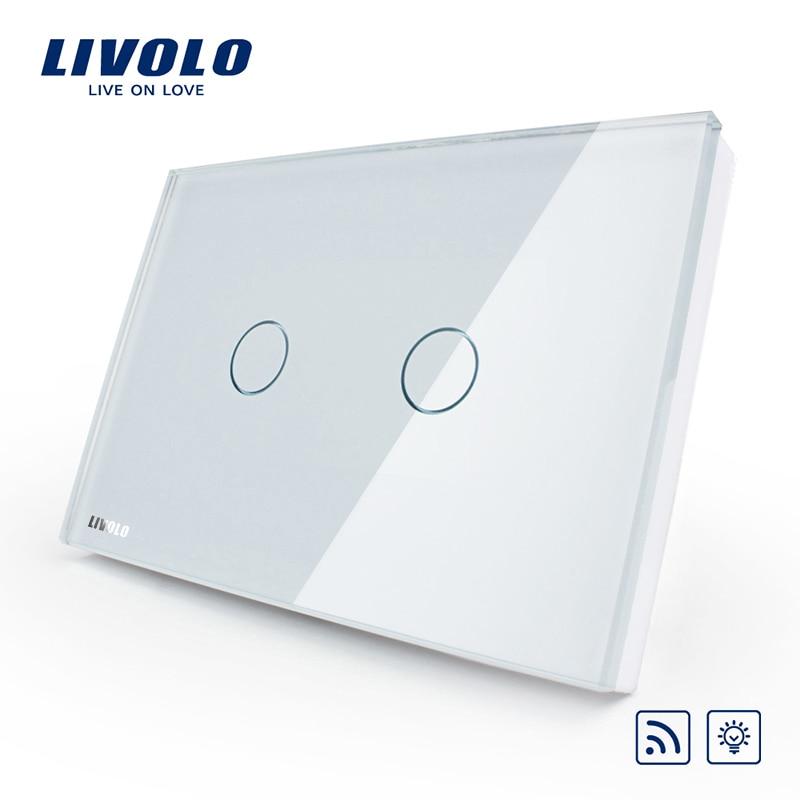 Livolo US AU standard 2gang Wireless Dimmer Remote Light Switch AC 110 250V White Glass Panel