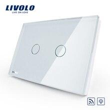 Livolo стандарт США/Австралии 2 банды Беспроводной Диммер дистанционный светильник, AC 110~ 250 В, белая стеклянная панель, VL-C302DR-81, без пульта дистанционного управления