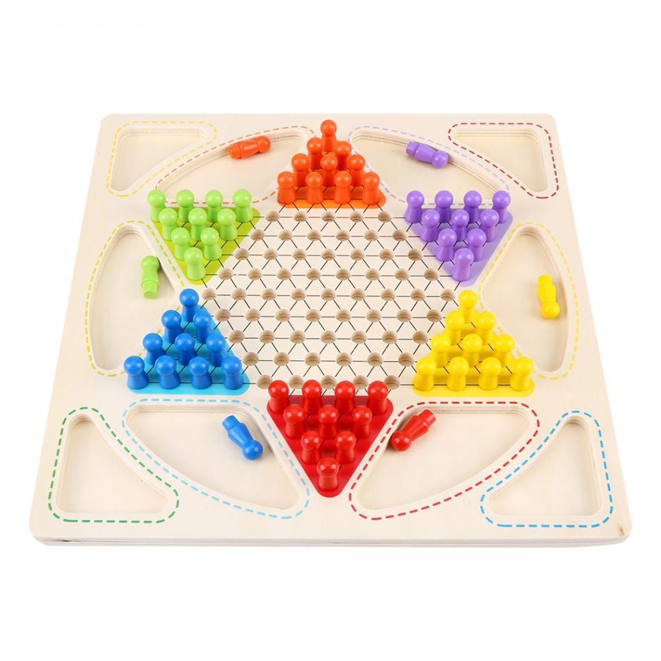 Kids Toys Wooden Colorful Chinese Checkers Family Game Set Western Publishing Smooth Aeroplane Chess Chinese Learning Toys