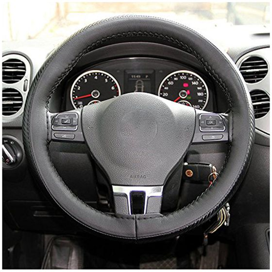 Steering Wheel Wrap DIY Cover in Carbon Fiber Vinyl Outer Trim Style leather
