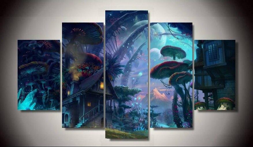 Free Shipping Printed Tiny World Fantasy Art 5 Piece Unframed