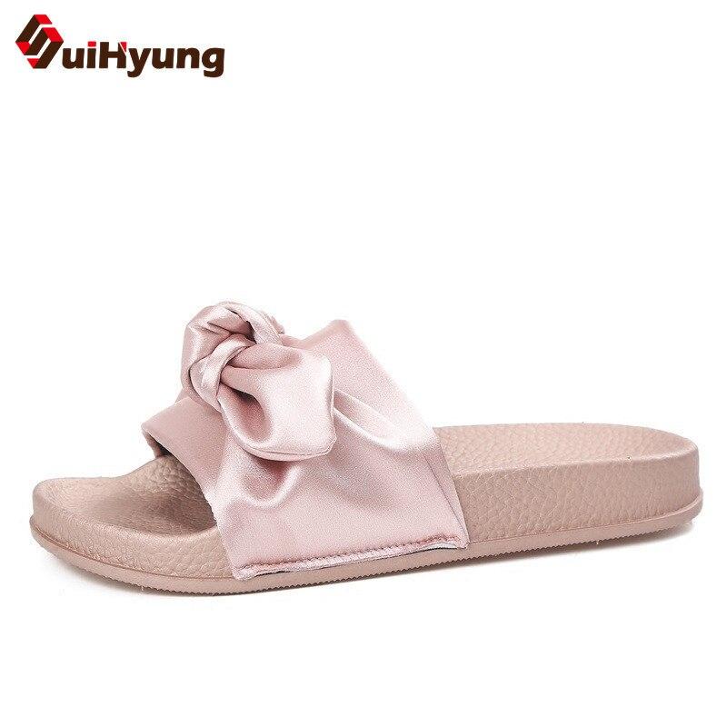 Suihyung бренд Дизайн Шелковый бант Для женщин Летние тапочки снаружи ПВХ Сандалии для девочек повседневная женская обувь пляжные шлепанцы Сла...