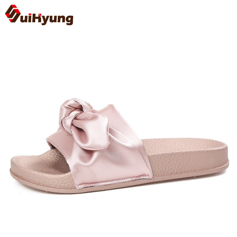 Suihyung Brand Design Silk Bow-knot Women Summer Slippers Outside PVC Sandals Casual Female Beach Slippers Flip Flops Bow Slides suihyung design new women and men summer flat shoes hit color breathable hollow beach slippers flips non slip unisex sandals