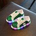 Llegó El nuevo Luminoso Zapatillas Niños Iluminan Zapatos Lentejuelas Estrellas Led Niños de Zapatillas Zapatos Del Niño Del Bebé Niños Niñas Zapatos