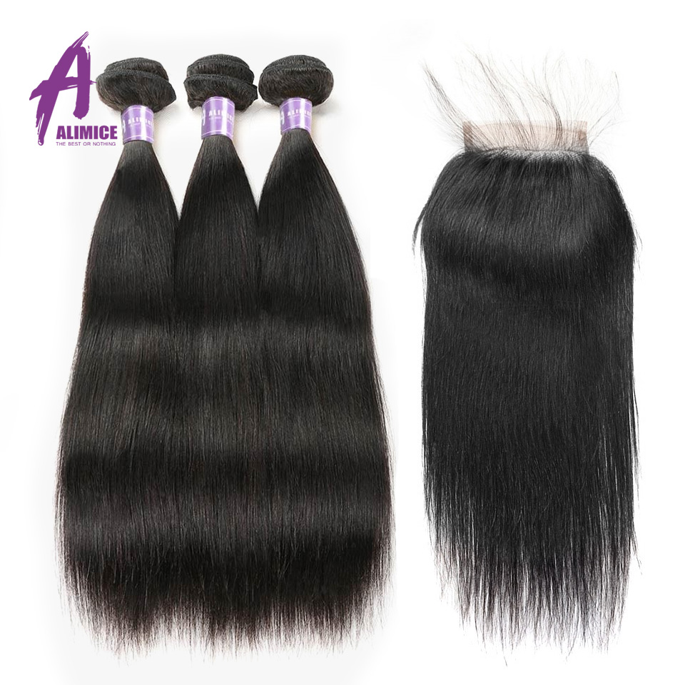 Alimice Straight Hair 3 Bundles With Closure Peruvian Hair 100 Human Hair Bundles With Closure Double