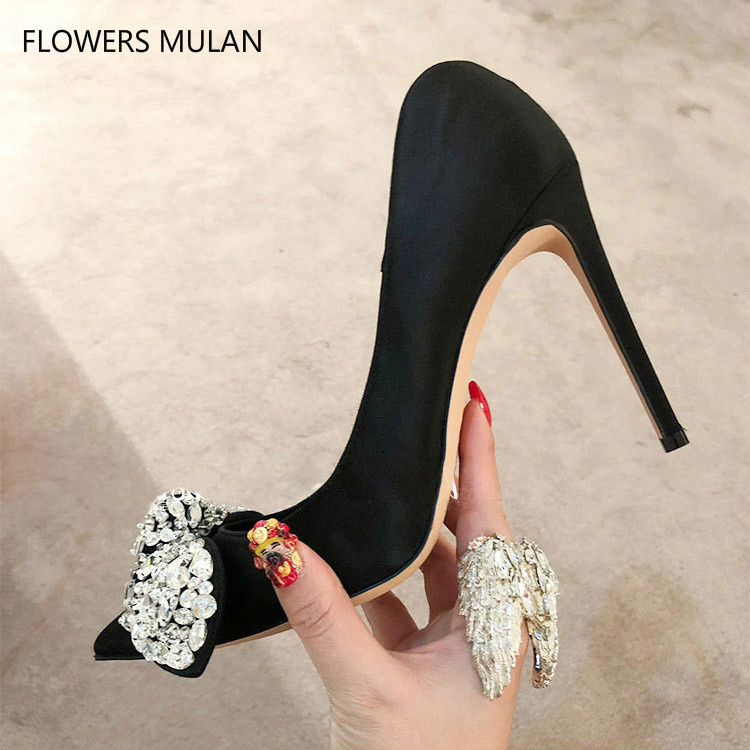 Red Silver Bow Crystal-embellished Satin Pumps Party Wedding Chic Women Shoes Street Fashion Runways Women Shoes High Heels chic elegant lady style bow lace up embellished folding soft straw hat for women