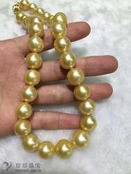 Огромный 12-15mmAAA круглый Южное море золотое ожерелье с жемчугом 18 дюймов 14 k