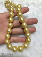 huge 12 15mmAAA round south sea gold pearl necklace 18inch 14k