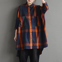2018 CELMIA Women Lapel Neck Buttons Down Plaid Check Pockets Shirt Autumn Long Sleeve Asymmetric Hem