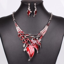 2018 new 5 Color to Selection New Fashion Classic Style Leaves Shape Rainbow Drop Oil Inlay Rhinestone Necklace Earrings Sets