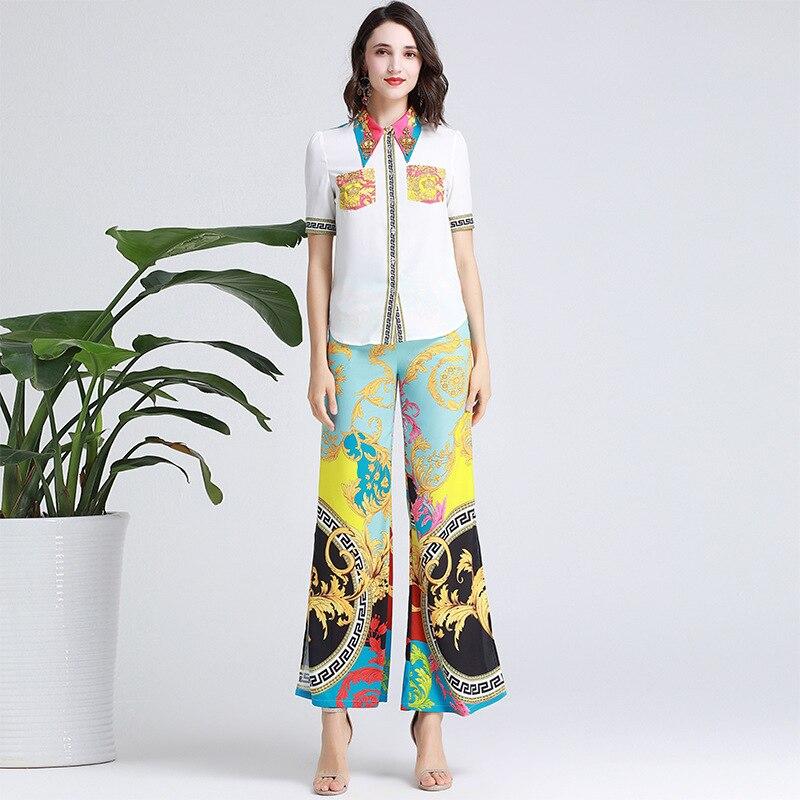 Mode impression deux-pièces femme 2019 été nouveau set clou perceuse col chemise + jambe large pantalon ouvert e3