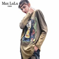 Max LuLu 2017 Autumn 3d Printed Cotton Women's Long Sleeve T Shirts Femme Brand Woman Funny Tshirt Top Tees Casual Clothes Mujer