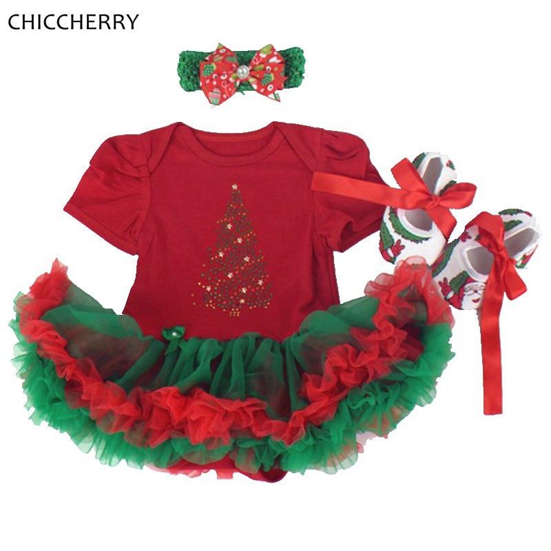 Red Baby Christmas Tree Costumes Short Sleeve Newborn Baby Girl Romper Dress Lace Tutus Headband Crib Shoes 3PCS Clothing Set