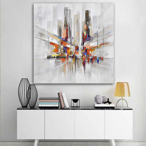 Hand painted Oil Painting On Canvas 3 dimensional city Oil Painting Abstract Modern Canvas Wall Art Living Room Decor Picture