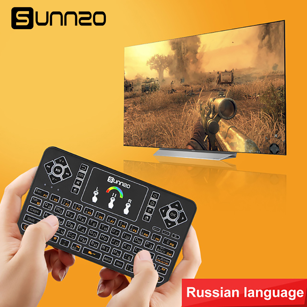 Mini Wireless Keyboard Russian Air Mouse Universal Remote Control Touchpad For Android TV Box A95X X96 M12 IMAC MAC Computers 2 4g mini wireless keyboard touchpad numeric keyboard charging switch screen for desktop laptop table