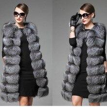 Wholesale Hot Sale Women Winter Warm Oversize 3XL Sleeveless Slim O Neck Full Pelt Silver Faux Fox Fur Vest XHSD-090