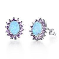 Blue Fire Opal Stud Pendientes Para Las Mujeres 925 Sterling Silver Purple Cubic Zirconia Joyería de La Boda El Mejor Regalo Para Ella (EA102074)