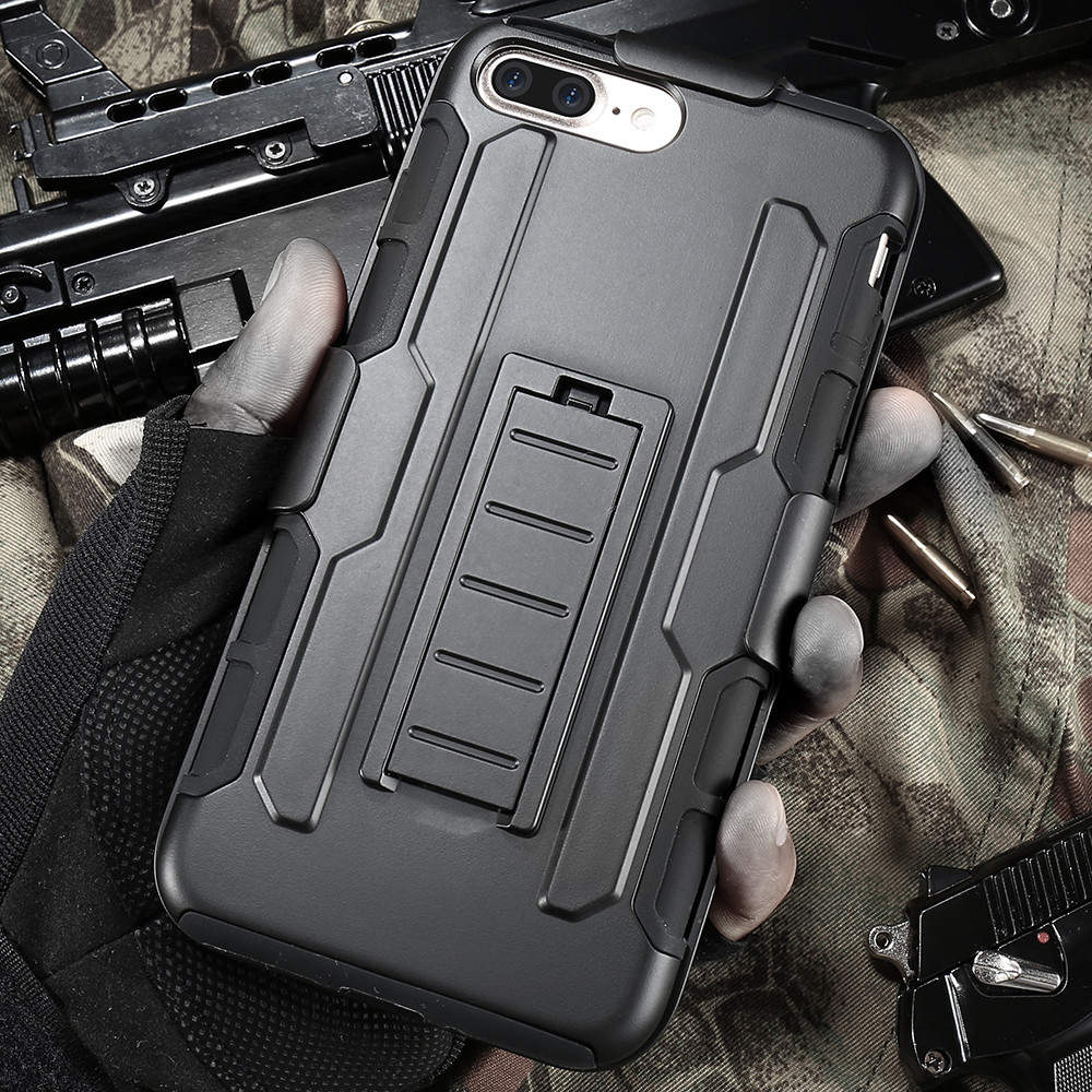 KISSCASE For iPhone 7 Case 3 in 1 Armor Hybrid Army Anti-knock Phone Cases For iPhone 7 6 6s Plus 5 5s SE Case With Kickstand