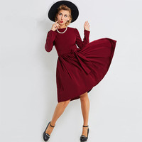 Sisjuly Vintage Dresses 1950s Autumn Sashes Knee Length Women Fushia Cotton Blends Pullover Long Sleeve Party