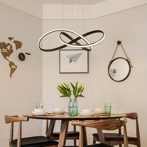 Image 4 - Modern led Chandelier for Kitchen Dining Room Living Room Suspension luminaire Hanging White Black Bedroom Chandeliers Fixtures