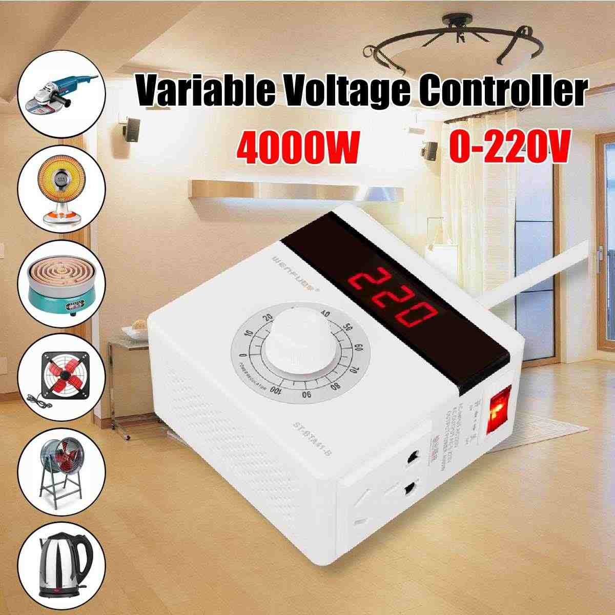 4000W AC 220V Electronic Regulator Motor Fan Speed Furnace Electric Heating Tube Thermostat Speed Switch Voltage Regulators