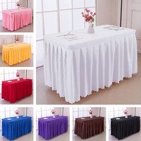 1PCS polyester Square Table cover with skirt table swag pleated style made together wedding hotel table decoration tablecloth