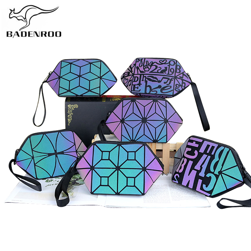 Badenroo 2019 New Luminous Brand Geometric Cosmetic Bag Clutch Folding Hobos Storage Bag Shell Wash Bag Makeup Case Toiletry Bag