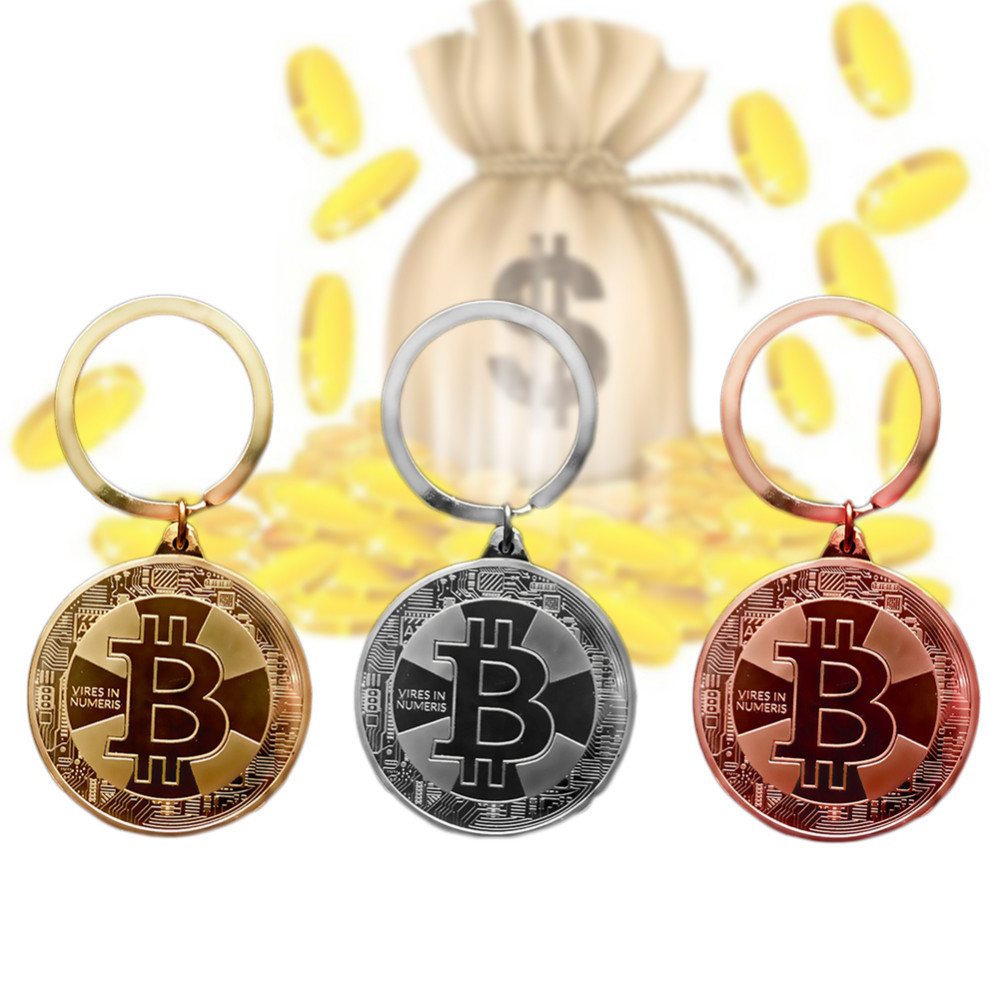 2018 New Gold Plated Bitcoin Coin Key Chain BTC Coin Art Collection Souvenirs Collectibles Business Gifts And Holiday DecoGifts-2