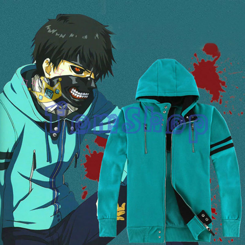 Anime Tokyo Ghoul Kaneki Ken Cosplay Kostym 1: 1 Unisex Hoodie Sweatshirt Hooded Sweat Shirts Coat Jacket Gratis frakt