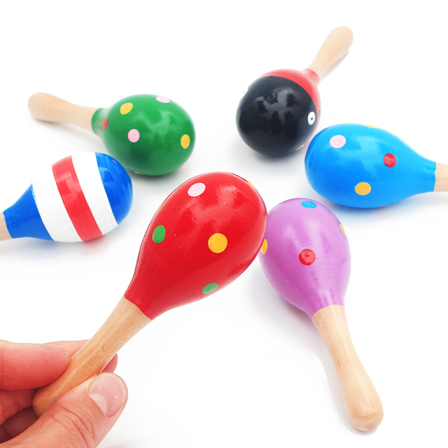 1Pc 12x4cm Infant & Toddlers Wood Sand Hammer Wooden Maraca Rattles Sand Hammer Kids Musical Party Favor Child Baby Shaker Toy 1