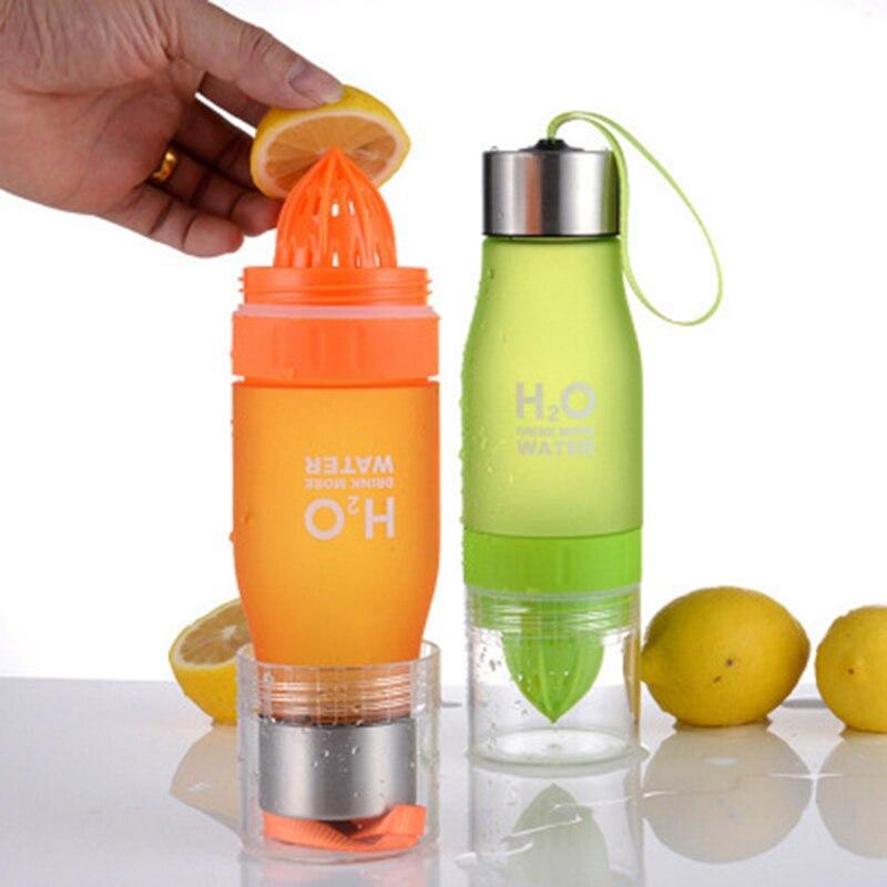 BAISPO 650 ML H2O di Limone Succo di Frutta Bottiglia di Acqua Infuser Bicchieri Per Outdoor Portatile Shaker Bottiglia di Sport BPA Libero regalo