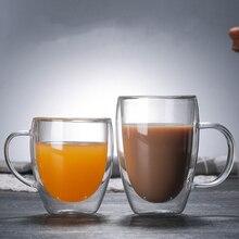 Resistente al calore A Doppia Parete di Vetro tazza di Caffè/Tazze da Tè E Tazze di Viaggio Doppia Tazze di Caffè Con La Maniglia Tazze Bere vetri di colpo