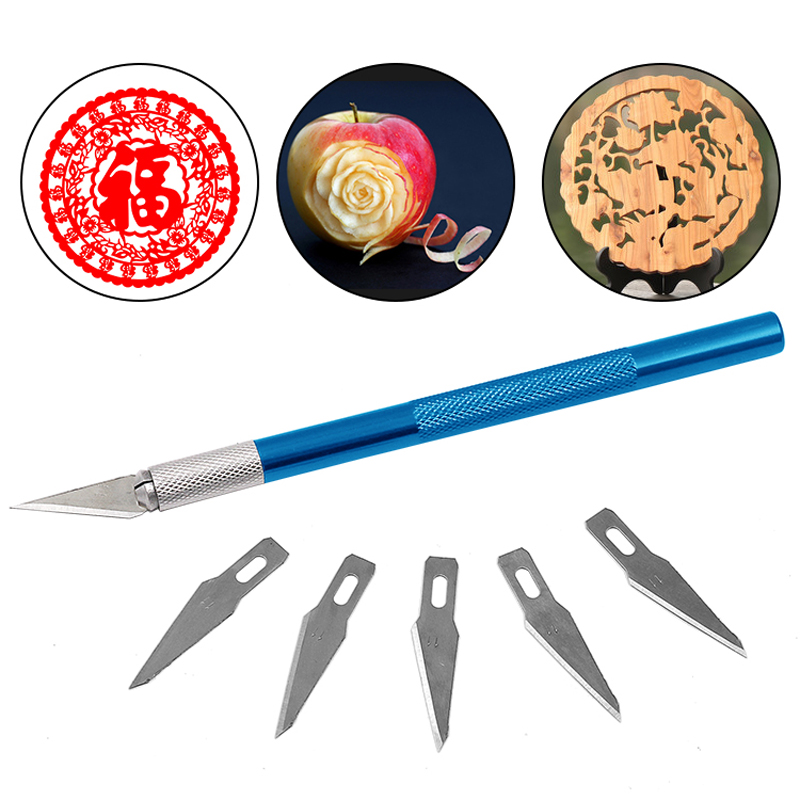 6 Blades Craft Artwork Engraving DIY Cutter Set Model Repairing Multipurpose Sculpture Scalpel Carving Knife
