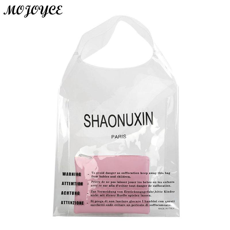 Women Clear PVC Handbag Clutch Transparent Letters Large Capacity Portable Tote Summer Female Famous Design Shopping Bag New