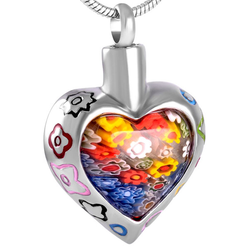 Personalized Murano Flower Glass Heart Urn Necklace Cremation Jewelry Memorial Keepsake