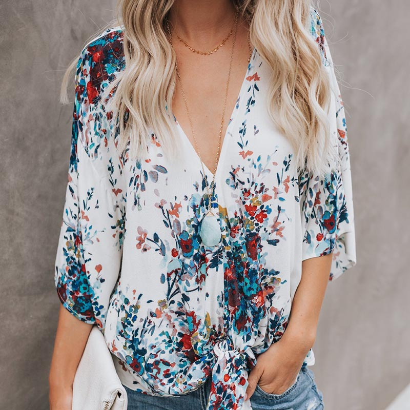 HOT SALE Maternity V-neck Chiffon Blouse Summer Casual Shirts Loose Tops Floral Clothes For Pregnant Women New Maternity T-shirt