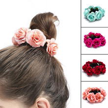 Women Rose Floral Elastic Hair Bands Beautiful Girl Artificial Pansy Flower Headwear Rope Horsetail Bun Hair Accessories(China)