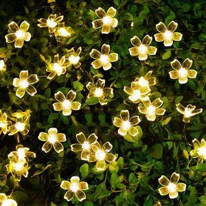 Image 3 - Solar Lampen LED String Lichter 7 mt 50LED 22 mt 12 mt Mit Kirschblüten Girlande Weihnachten Für Hochzeit Garten party Im Freien Club