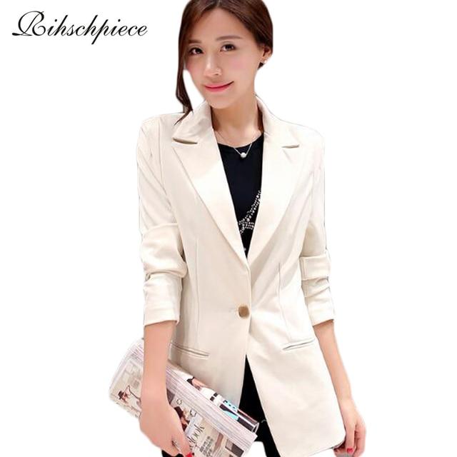 Rihschpiece 2016 White Women Blazers and Jackets Slim Fit Plus Size Office Black Ladies Blazer Elegant RZF192